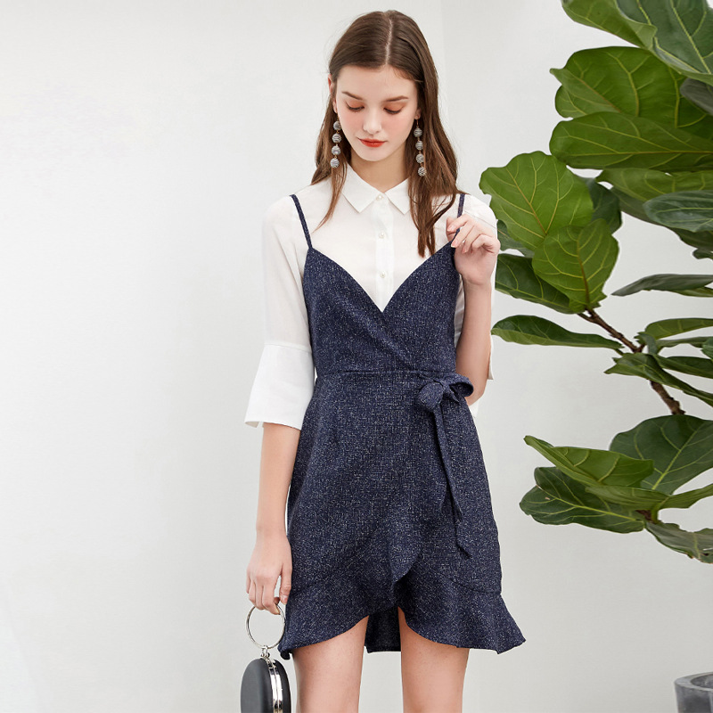 New Women White Flare Sleeve Shirt +Fashion Midi Irregualr Bow Lace-up Sling Vintage Dress 2pieces Casual Comfortable Sets