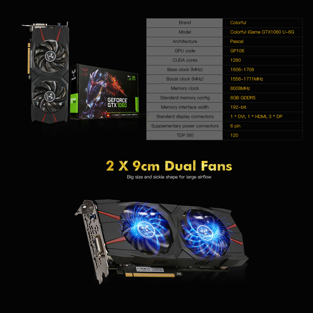 US $385 0 |COLORFUL Nvidia GeForce iGame GTX1060 6GB GDDR5 Gaming Video  Graphic Card PCI E X16 3 0 GPU 1556 1771MHz 8008MHz 192Bit Desktop-in  Graphics