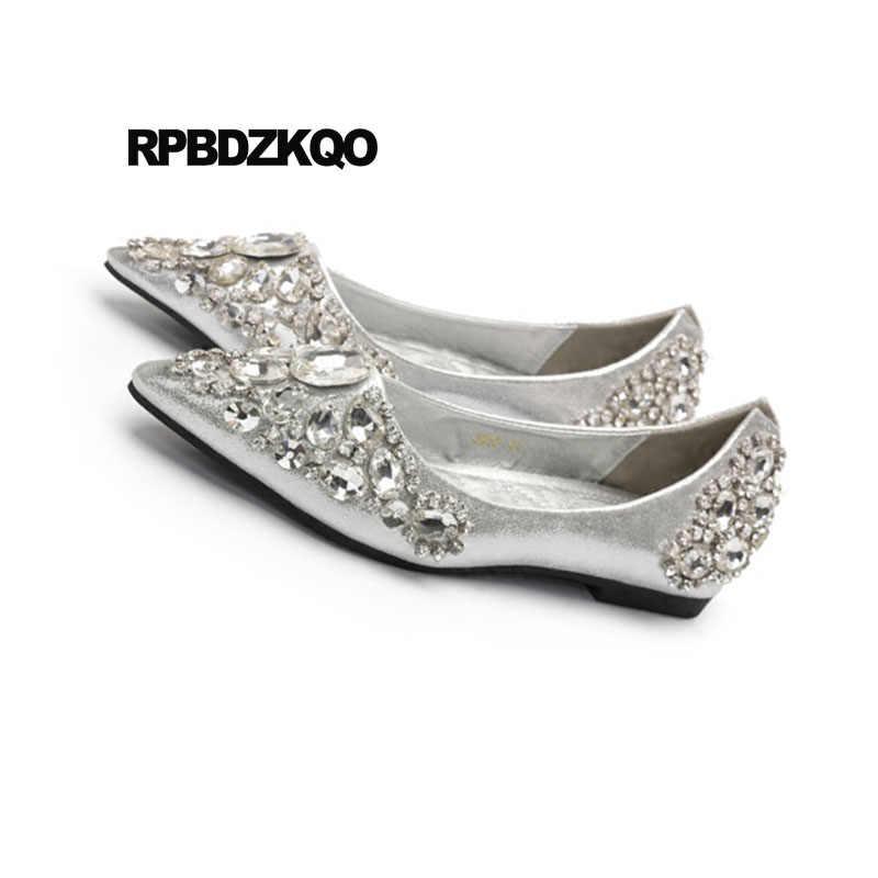 ac152f4cd53 ... Rhinestone Beautiful Silver Bling Pointed Toe Flats Wedding Ballet Shoes  Dress Crystal Ballerina Women Diamond Slip ...