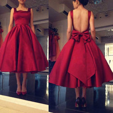 Vestido Madrinha Summer Mid Pageant Party Dresses With Bow Sleeveless De Festa Casamento Burgundy Dress Women Backless