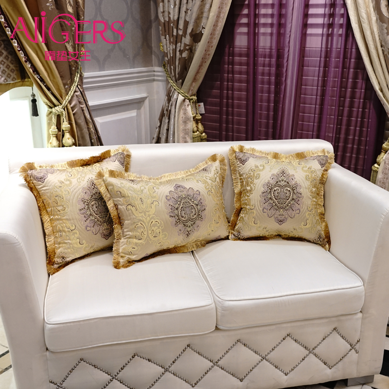 Avigers Luxury Double Jacquard Gold Cushion Cover Tassel Pillow Case Flower Home Decorative Sofa Seat Throw 45x45cm