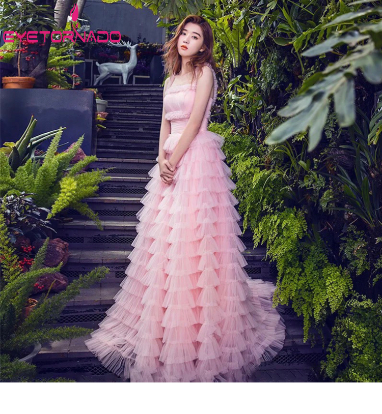 2019 Sexy Long Cascading Ruffled Mesh Dress Summer Pink Long Party Evening Cake Dresses Women Strap