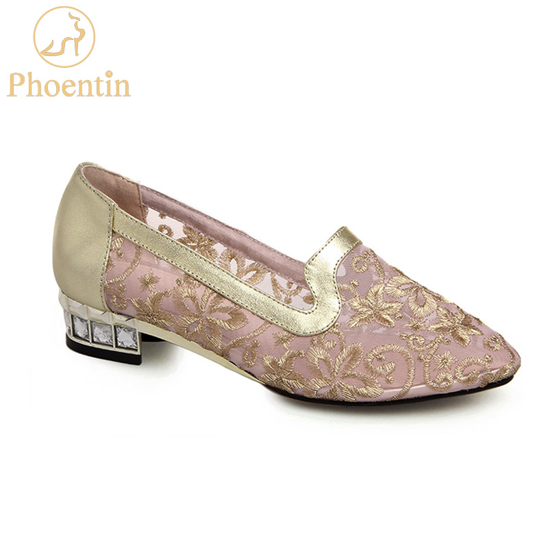 Phoentin gold shoes embroidered flower lace 2019 NEW women's shoes mesh with crystal low heels genuine leather woman pumps FT470