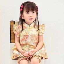 Новые летние детские комплекты Ципао с цветочным принтом, новогодние китайские платья для маленьких девочек, короткие штаны, костюмы чонсам