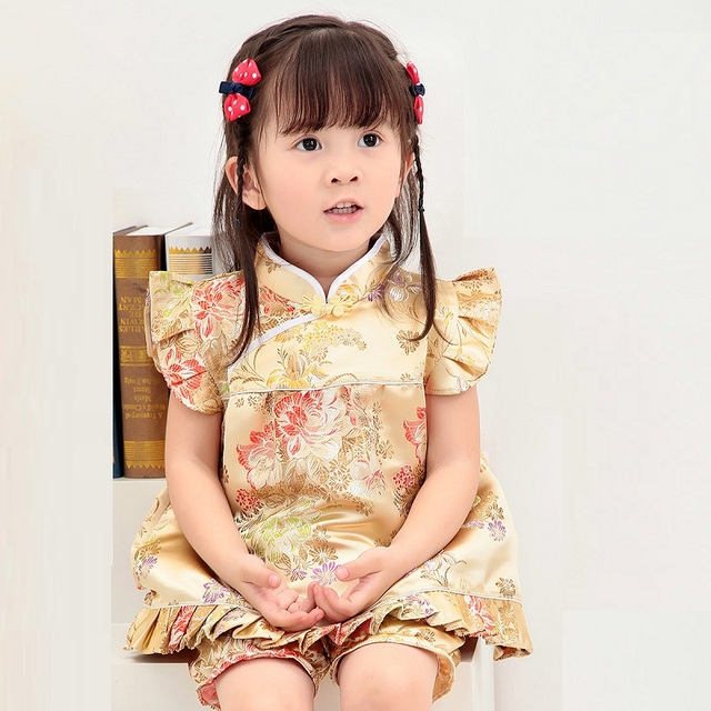 2019 New Summer Floral Qipao Children s Sets New Year Chinese baby girls  dresses short pants cheongsam outfits 035c658e2513