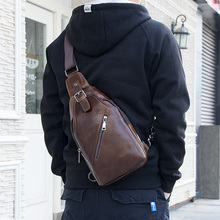 J.M.D High Quality Leather Chest Bag Brown Cross Body Classic Mens Shoulder 4014C