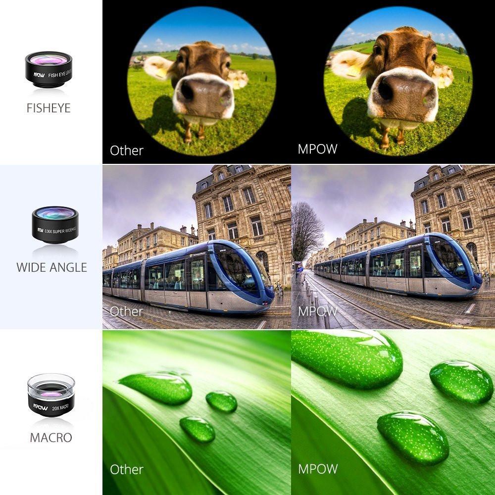 Original Mpow MFE4 Clip-On Phone Camera Lens Kits 180 Degree Fisheye Lens + 0.36X Wide Angle + X Macro Lens for Cellphones 6