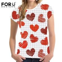 FORUDESIGNS Women tshirts for Summer t shirt Tops Tees Femmes Female Heart-Shaped Printing t-shirt Grid T kpop