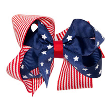 Adogirl 5 Inch 4th Of July Hair Bows for Girls Independence Day Stars Striped Handmade Clips Boutique Accessories
