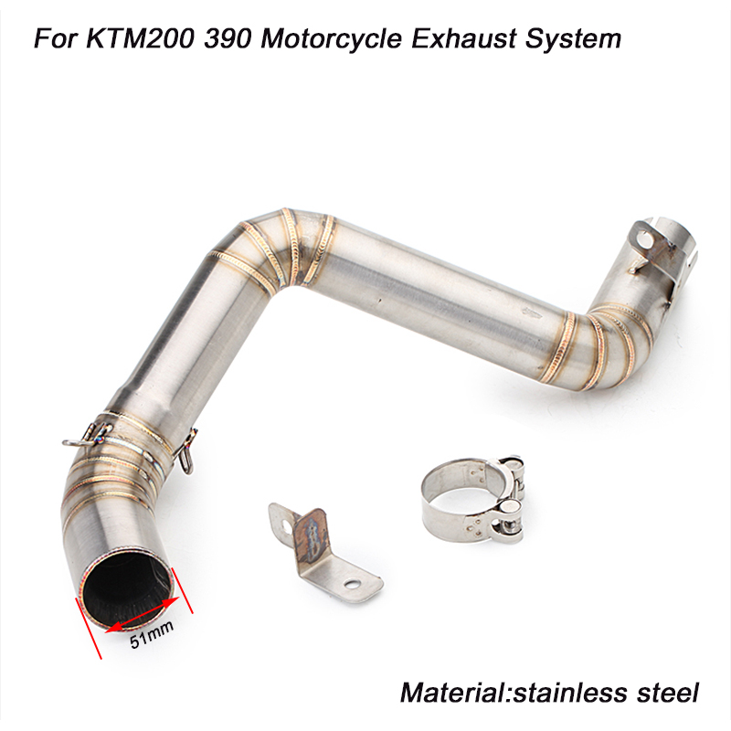 2012 2013 2014 2015 2016 Motorcycle Link Pipe Exhaust System Stainless Steel Silp on for KTM DUKE 200 390 in Exhaust Exhaust Systems from Automobiles Motorcycles