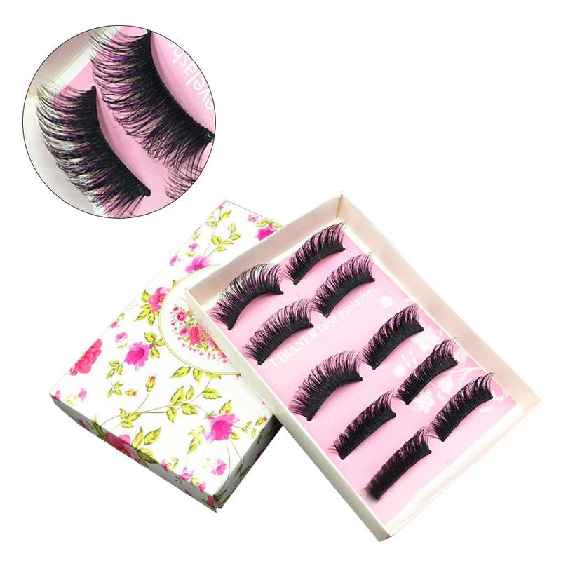 5pair Black+purple Hard Stem False Eyelash Set Women Individual Eyelashes Makeup Densely Curly Eyelash Extensions Cosmetics