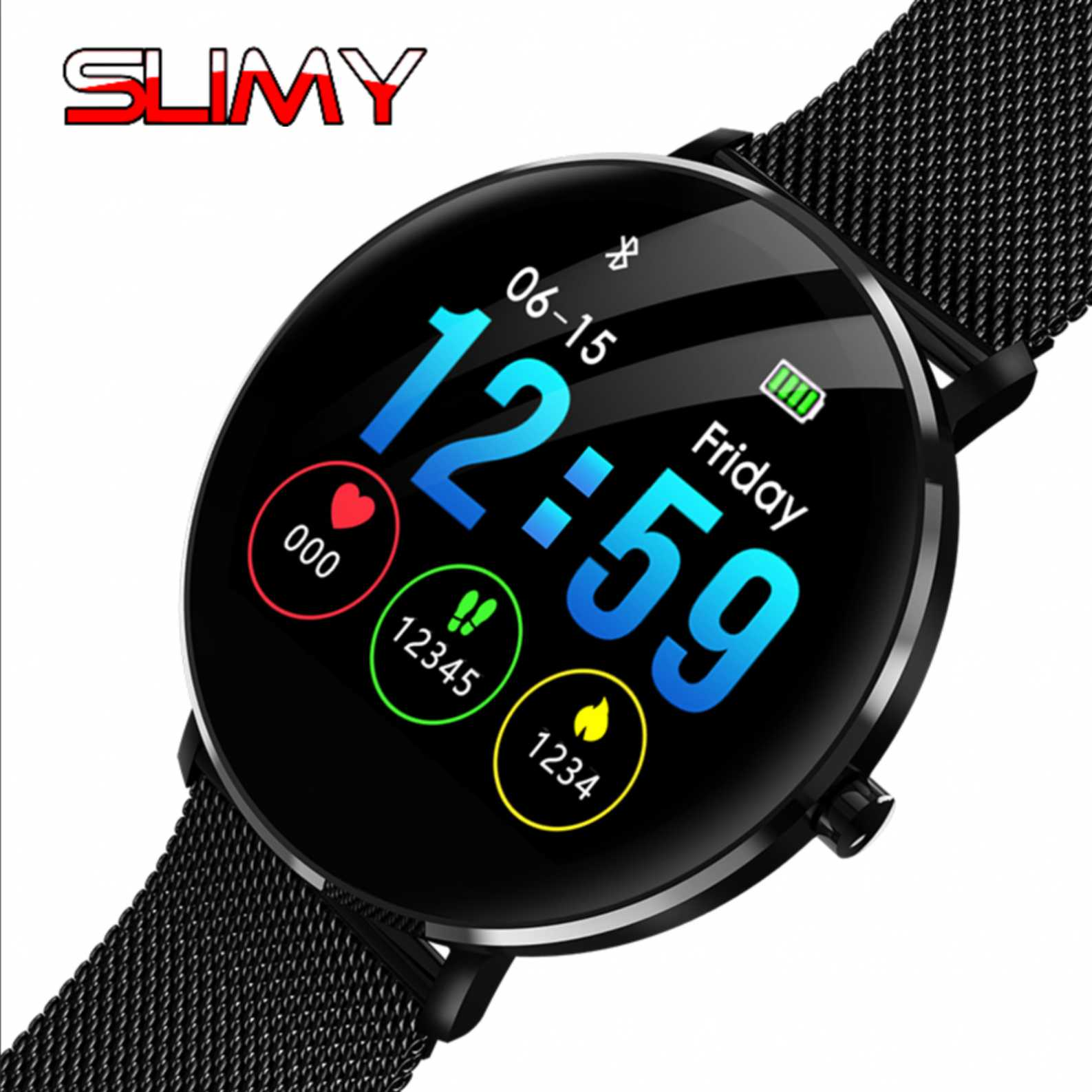 Consumer Electronics Lower Price with Slimy Smart Watch Ip68 Waterproof Swimming Full Touch Screen Smartwatch Heart Rate Blood Pressure Monitor Pk L5 L6 Wristwatch High Resilience