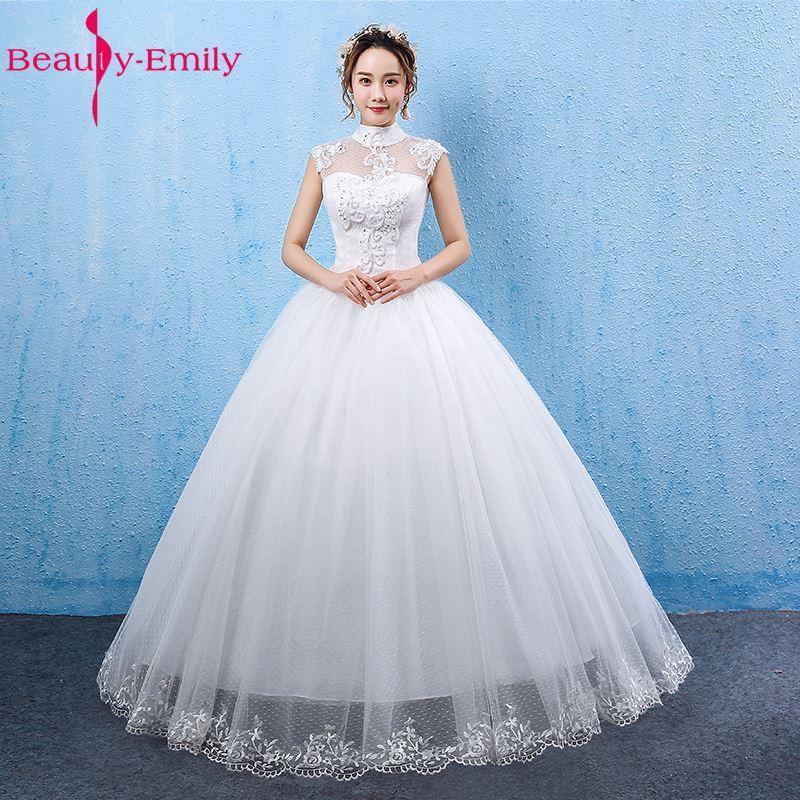 Beauty-Emily blanco vestidos de novia 2017 vestido de bola de cuello - Vestidos de novia