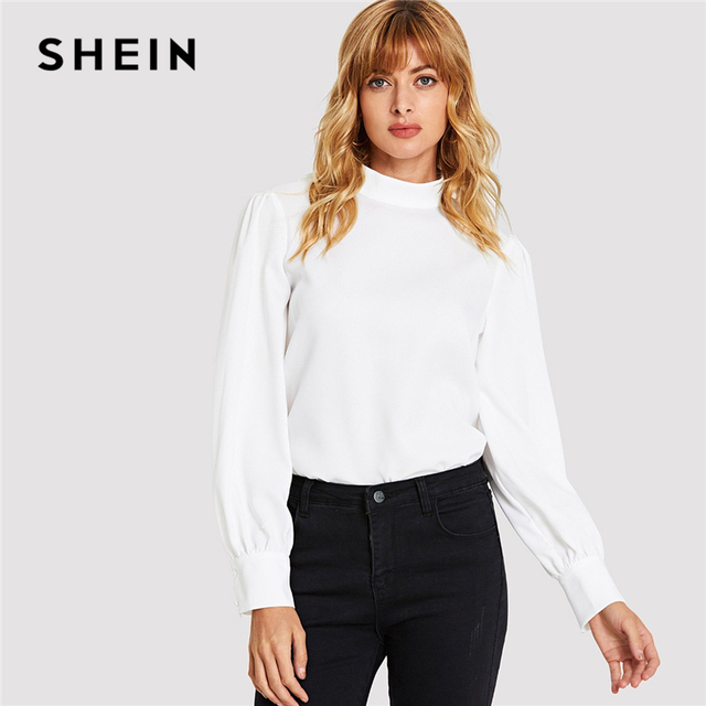 c294c5b3d2bde SHEIN White Keyhole Back High Neck Blouse Elegant Workwear Long Sleeve Plain  Tops Women Autumn Solid