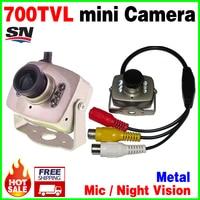 Muito de mini! 6Led Visão Noturna HD cmos 700TVL Câmera de CCTV pequeno AV Audio MICROFONE De Metal produtos de monitoramento de Vigilância vidicon micro