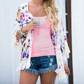 Women Fashion Girls Stylish Cardigan Three Quarter Sleeve Tassels Opened Loose Fit Casual Top Outwear White S/M/L/XL