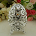 Free shipping  egg shape silver purple wedding gift box   , SDB146