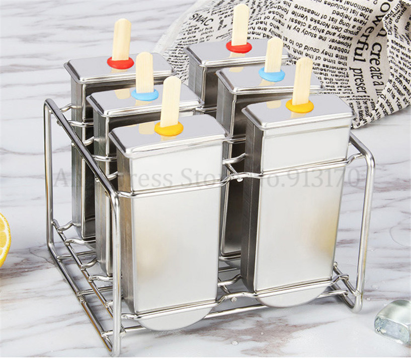 DIY Stainless Steel Popsicle Mold Ice Pop Lolly Ice Cream Moulds Stick Holder 6pcs/Batch Home Ice Cream Maker Free Shipping stainless steel ice pop popsicle moulds commercial diy ice cream mold brand new 20pcs batch sticks holder