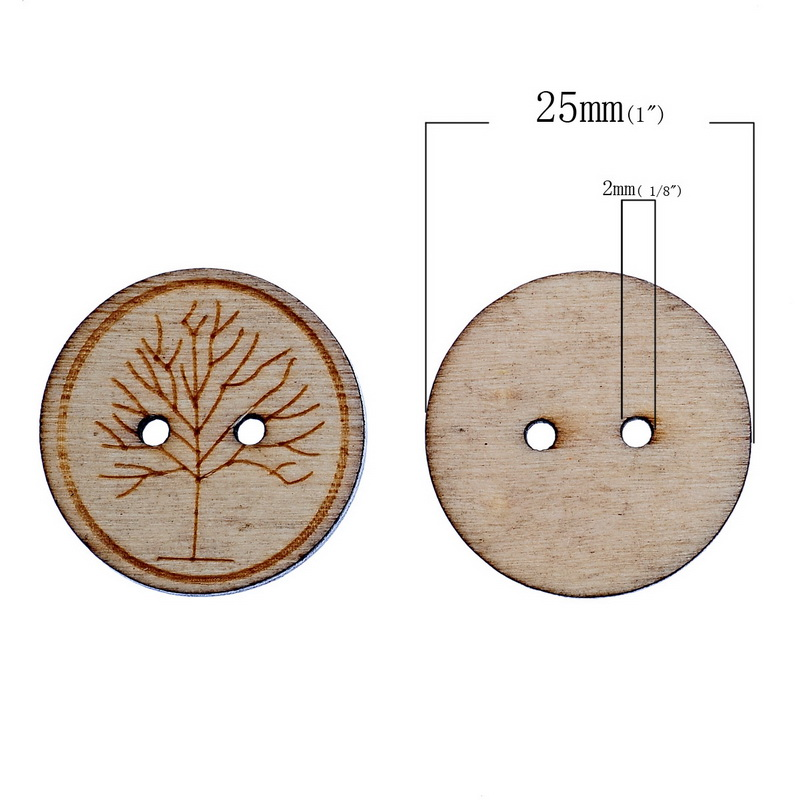 Urijk New 50PCs Natural Wooden Buttons For Craft DIY Scrapbooking 2 Holes Buttons For Clothes Needlework Sewing Accessories