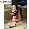Zapatos de marca sexy estrecha banda delgada tacones altos sandalias de verano correa de tobillo abierto dedo del pie gladiador vestido de fiesta mujeres sandalias señora bombas