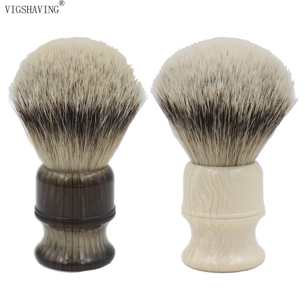 VIGSHAVING Faux Horn Resin Handle Silvertip Badger Hair Shaving Brush