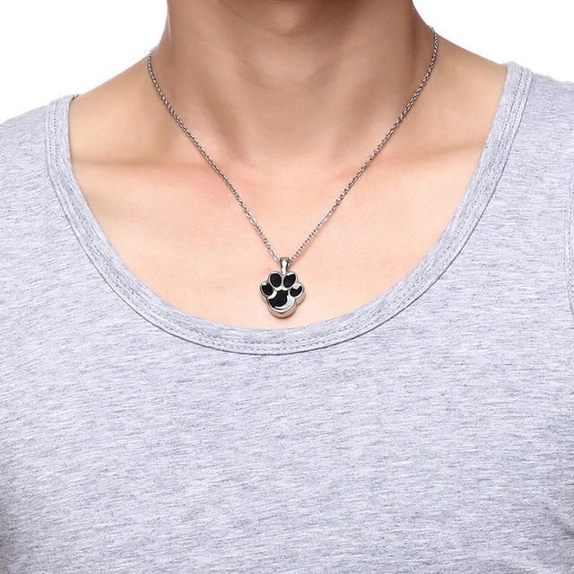 Unisex Paw Shaped Urn Necklace