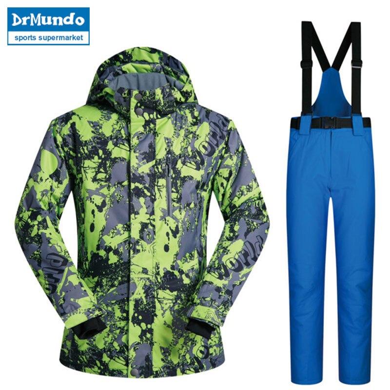 2018 haute qualité Ski Snowboard veste marques coupe-vent imperméable à l'eau chaud mâle ensembles vestes et pantalons en plein air hiver Ski Suit