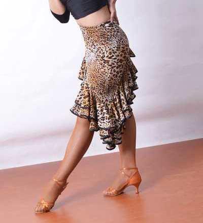 Exotic Dance Ballroom Dance Latin Dance Double Layer Of Lotus Leaf Oblique Long Skirt Latin Dance Skirt S13017