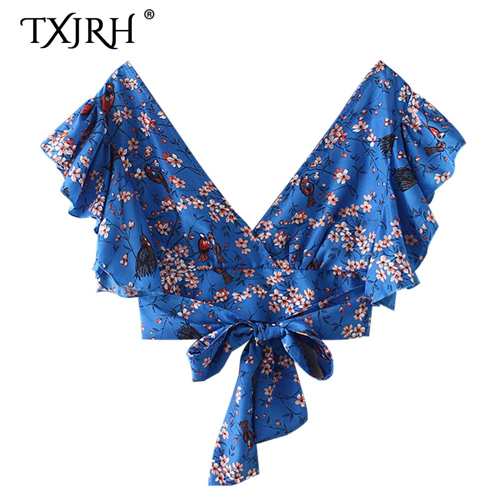 TXJRH <font><b>Sexy</b></font> Blue Floral Bird Print Holiday <font><b>Deep</b></font> <font><b>V</b></font>-Neck Tied Bow Hem Shirt Backless Fashion Butterfly Sleeve Short Crop <font><b>Blouse</b></font> Top image