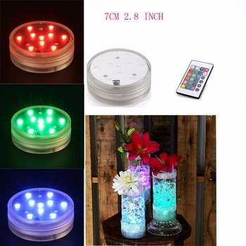 20pcs /lot 3AAA Battery Operated 2.8inch Submersible Multicolors RGB LED Under Vase Light Base W/Remote luces decorativas