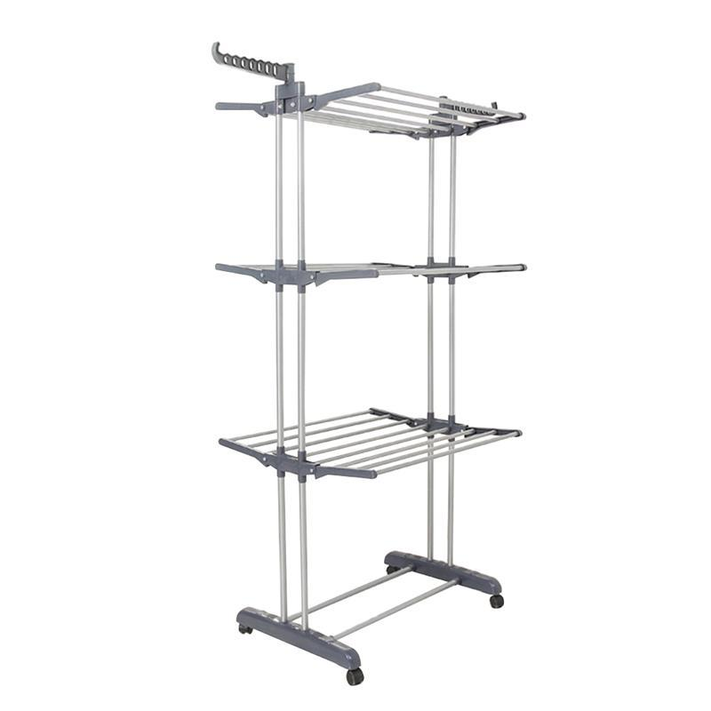 OUNONA Folding Drying Dryer Rack Hangers 3 Tiers Clothes Laundry with Wheels Cloth Shoes Hanger