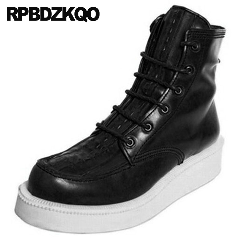Genuine Leather High Sole Shoes Men Trainer Boots Harajuku Ankle Lace Up Sneakers Full Grain Footwear Platform Thick Soled Wedge 2018 spring men harajuku genuine leather sneakers thick platform hip hop street dancing footwear man trainer lace up tenis shoes