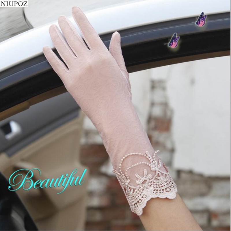 Sexy Spring Summer Women Autumn UV Sunscreen Short  Sun Gloves Fashion Ice Silk Lace Driving Of Thin Touch Screen Gloves G02B