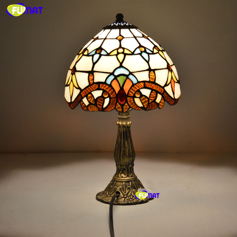 FUMAT Tiffany Table Lamps 8 Inch Classic European Baroque Stained Glass Bedside Lamps Living Room Blue Shade Table Lights E27 fumat classic table lamp european baroque stained glass lights for living room bedside table light creative art led table lamps
