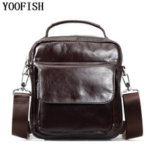 YOOFISH  Mens 100% Genuine Cowhide Leather Shoulder Bag,Quality Men Messenger Bags Casual Handbag For Briecase LJ-755