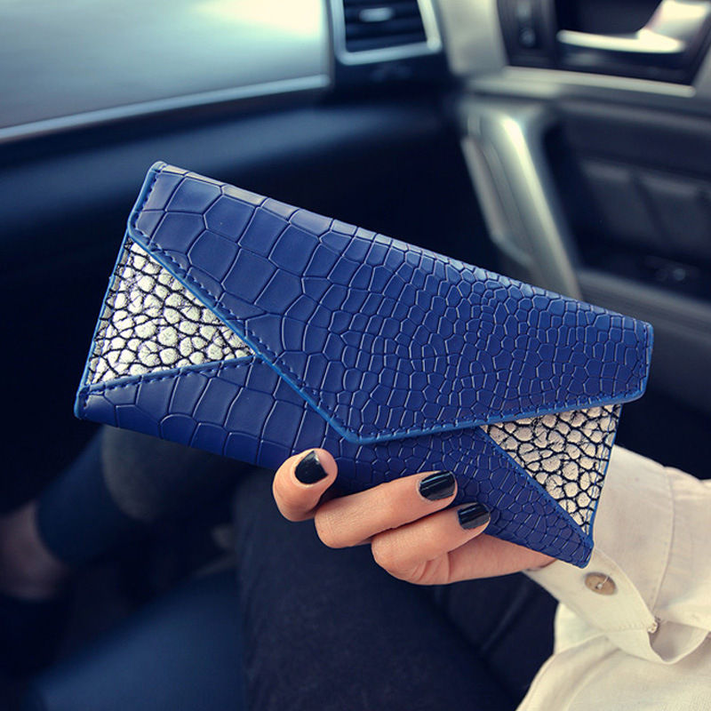 Classic Crocodile Pattern PU Leather Long Design Women Wallet Clutch Bags Ladies Purse Leather Wallets For Women st0179 lorways 016 stylish check pattern long style pu leather men s wallet blue coffee