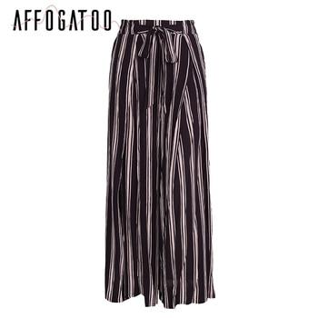 Affogatoo Sexy side split wide leg pants Women summer beach high waist striped pants Elastic sash bow chic trousers casual pants 9