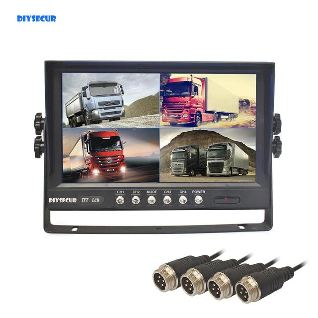 "DIYSECUR  9"" 4CH 4PIN 4 Split Quad Screen Color Video Monitor Screen for Video Surveillance System"
