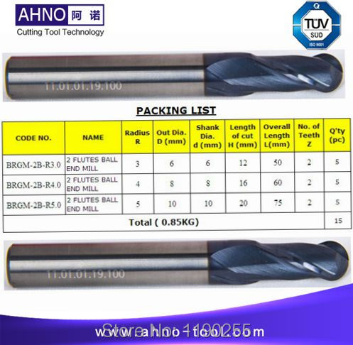 1 bag of 2 flutes Carbide End Mill Ball Nose Cutters 3 sizes 15pcs/ bag Free shipping  vipul k patel analysis of ball mill