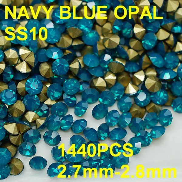 SS10 1440pcs/bag New Arrival Navy Blue Color Opal Rhinestones for Nail Art  2.7mm-2.8mm Golden Pointback Jewelry Rhinestone Nail