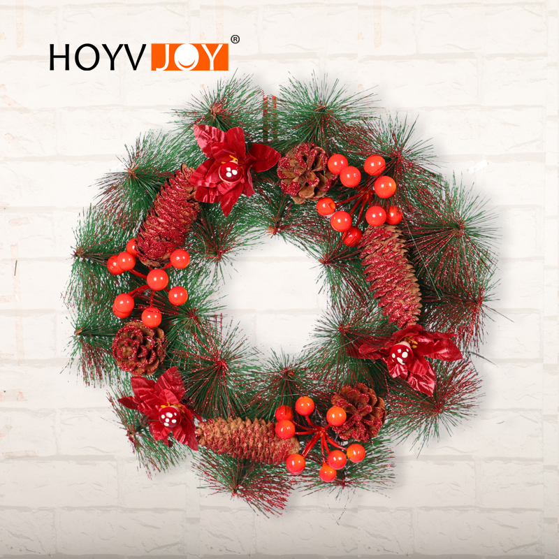 THRWELL Pine Needle Wreaths Cherry Mushroom Intersperse Garlands Christmas PVC Wreath for Home in Wreaths Garlands from Home Garden