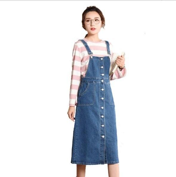 053c9da4fd1d0 Plus Size 5XL Women Front Button Denim Suspender Skirts Womens Streetwear  Midi Denim Skirt Strap Jeans