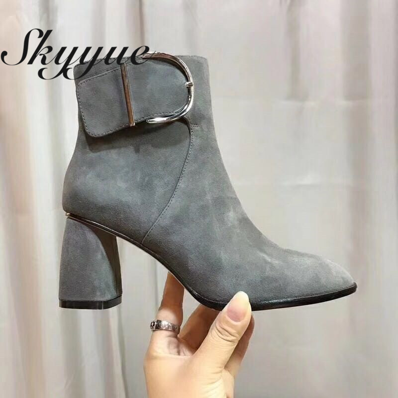 SKYYUE New Genuine Leather Zip Side Women Street Style Boots Pointed Toe Chunky Heel Women Fashion Boots Shoes Women skyyue new genuine leather pointed toe women boots zip side thin high heel ankle boots shoes women