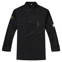 2017 New Summer Chef Uniform Long Sleeved Double Breasted Restaurant Cook Uniforms Work Wear Hotel Cook Clothes TLL04