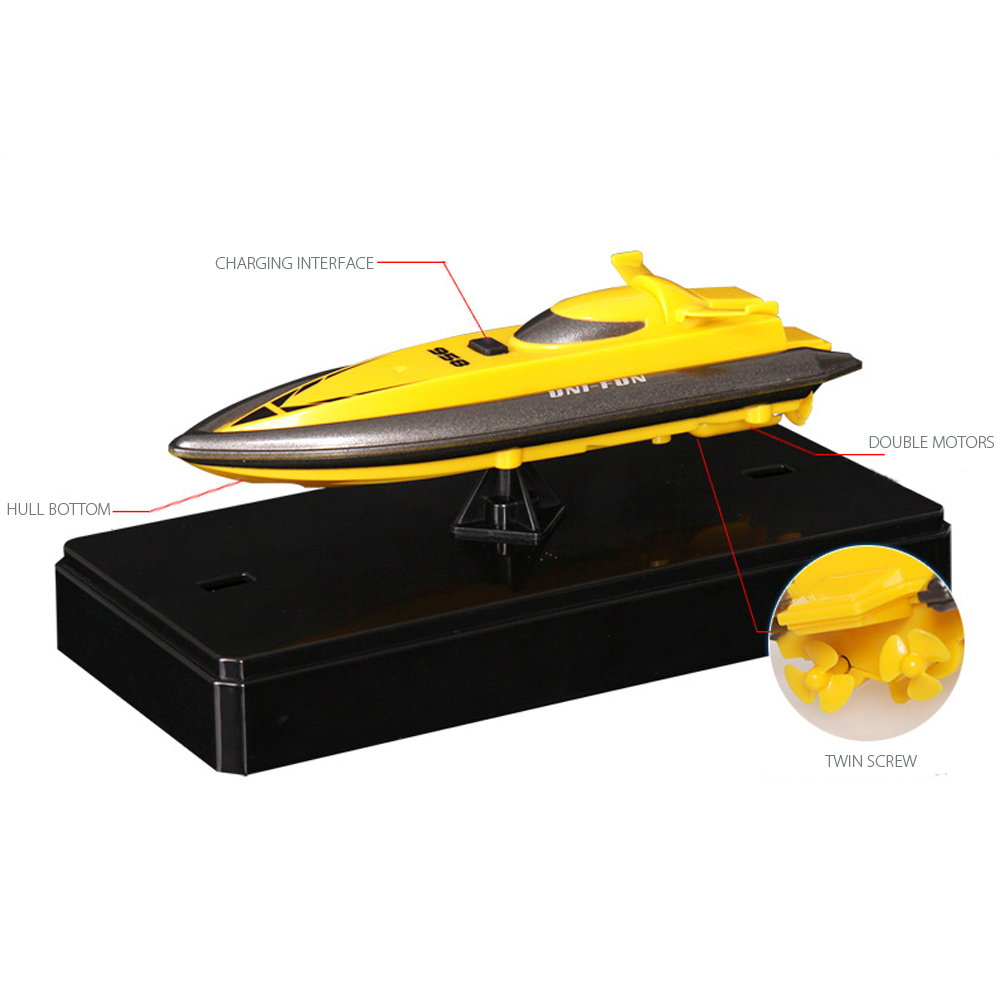 2016 nya Mini Radio Remote Control 2.4G 4CH Model RC Boats barco de pesca Vattengåvor för barn Gratis frakt grossist