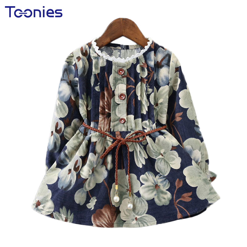 Girls Princess Dress Long Sleeve Kids Dresses Flowers Printed Child s Vestidos Casual Baby Costumes Girl