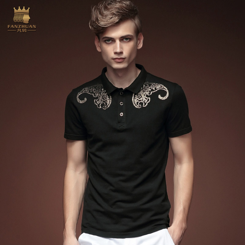 Free shipping 2015 new fashion casual men's male summer short sleeved   POLO   Shirt Black Slim thin shirt printing 15706 FanZhuan