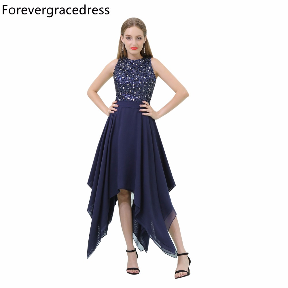 Forevergracedress Navy Blue   Prom     Dress   Sexy Sleeveless Beaded Crystals Evening Party Gown Plus Size Custom Made
