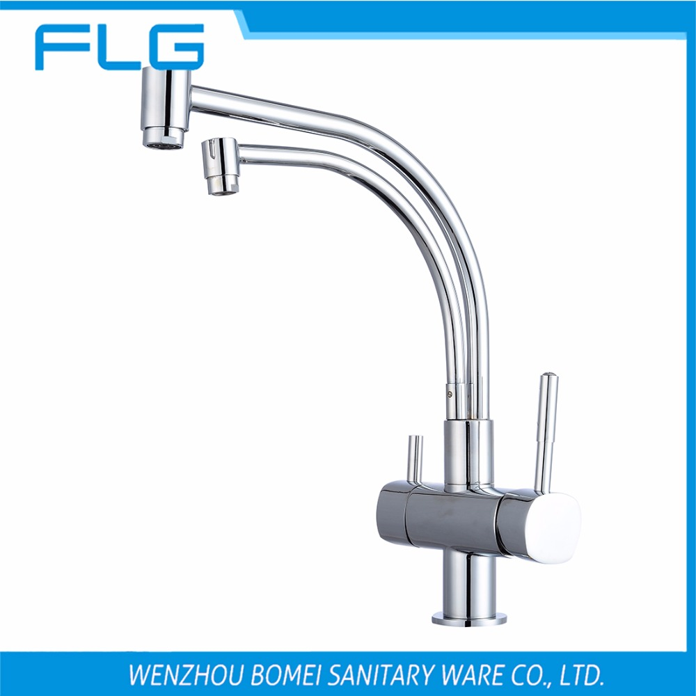 ФОТО Free Shipping Brand NEW 2 Spout Kitchen Sink Faucet Tap Pure Water Filter Mixer Single Handles Chrome