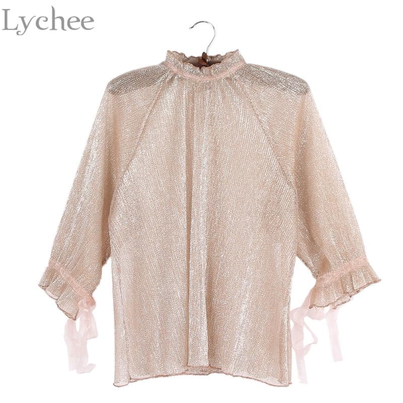 Lichi Sexy Primavera Verano Blusa de Las Mujeres Shinny Plisado Pajarita Camisa